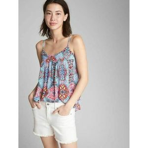 Womens GAP Red Blue Floral Tank Top